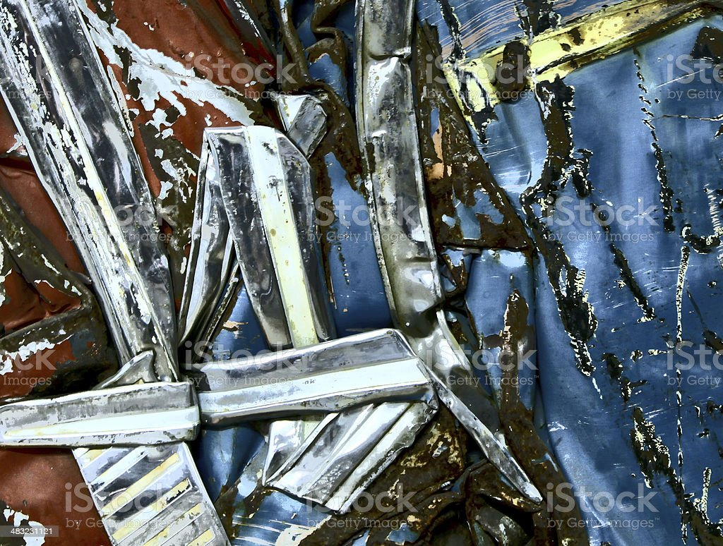 Vintage Car Scrap Metal heap of Iron and Chrome royalty-free stock photo