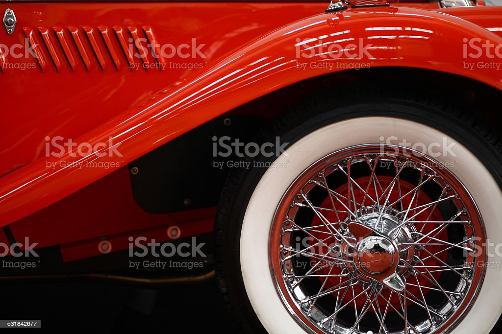 Vintage car spoke wheel stock photo