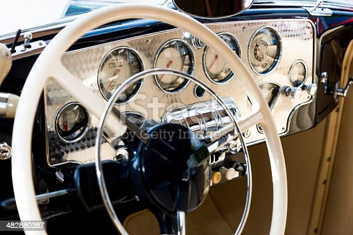 467735055istockphoto Vintage Car Steering Wheel And Dashboard 482880387