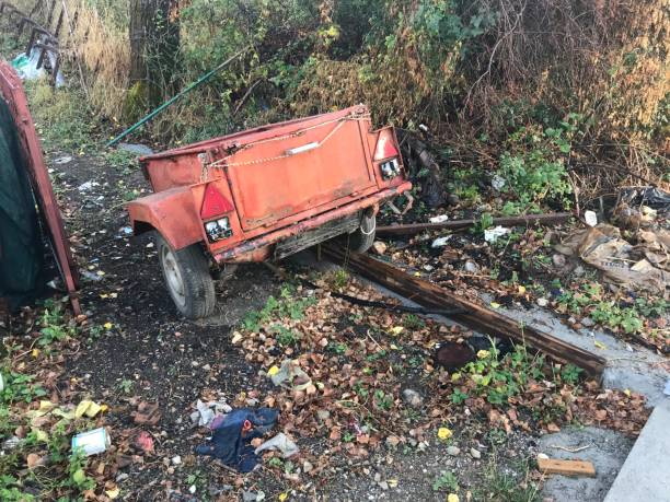 Vintage car trailor Ohrid, Macedonia, - September 21, 2019. Vintage trailer wreck in the country side. 1960 1969 stock pictures, royalty-free photos & images