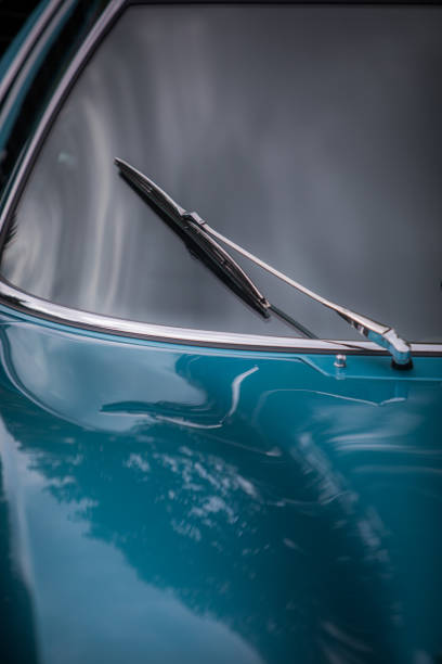 Vintage car windscreen wipers stock photo