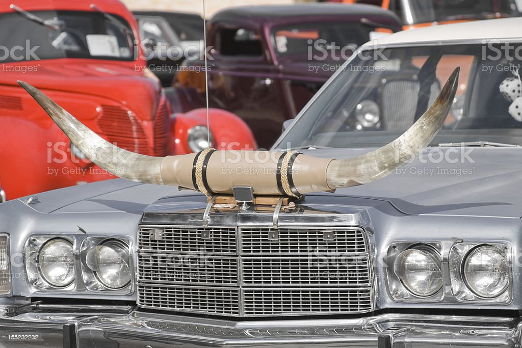 Vintage Car with Longhonr Steers stock photo