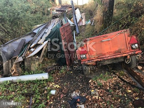 Ohrid, Macedonia, - September 21, 2019. Vintage car wreck in the country side.
