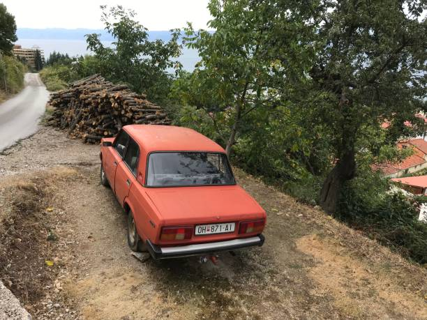 Vintage car wreck Ohrid, Macedonia, - September 21, 2019. Vintage car wreck in the country side. 1960 1969 stock pictures, royalty-free photos & images