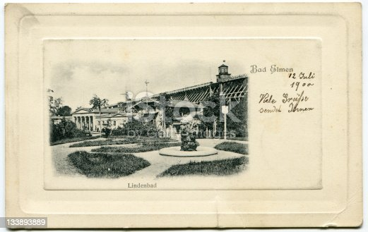 Very old postcard showing Bad Elmen/Lindenbad in Germany