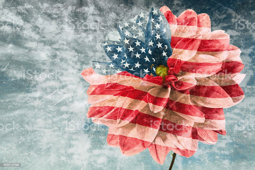 Vintage card with flag of USA stock photo