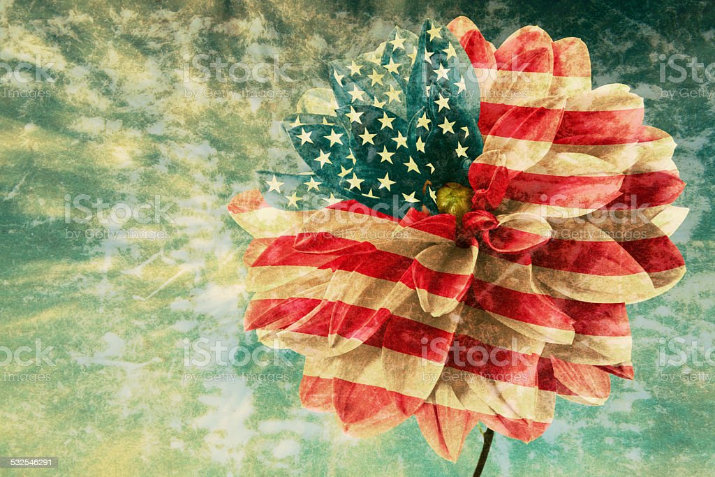 Vintage card with flag stock photo