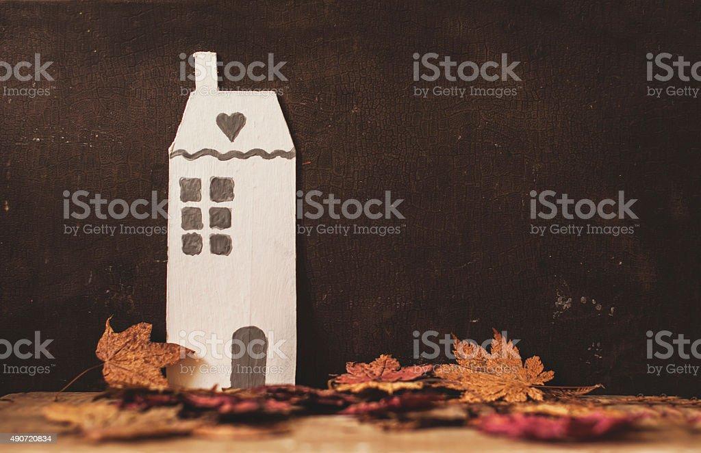 vintage cardboard decorative house stock photo