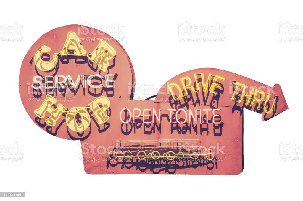 Vintage Carhop Diner Sign stock photo