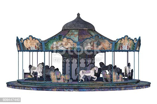 Vintage carousel isolated on white, 3d render