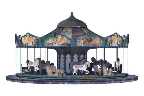 vintage karussell isoliert auf weiss, 3d rendern - karussell stock-fotos und bilder
