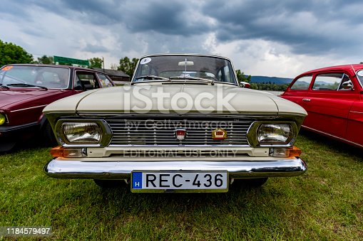 Hungary Szodliget Jun 22, 2019: Vintage Moskvitch 408 1960s car sedan is on display in a mint condition.