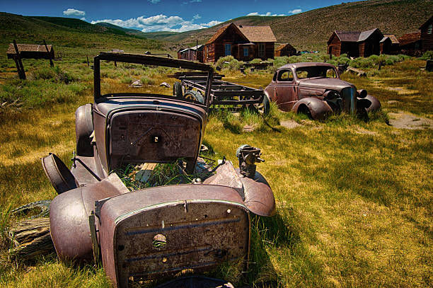 Vintage cars in Bodie State Historic Park, California stock photo