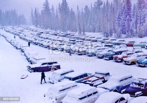 Vintage cars in snow in Lake Tahoe from 1 of 4, 35mm slides.