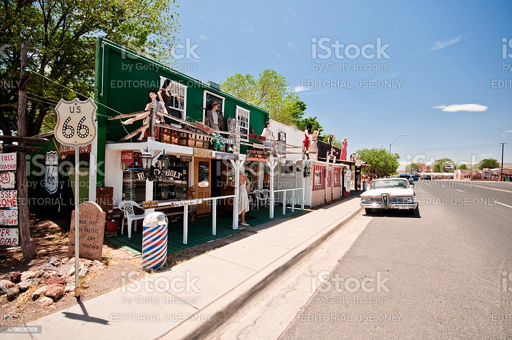 Seligman, USA - May 28, 2013: Vintage cars Route 66 stock photo