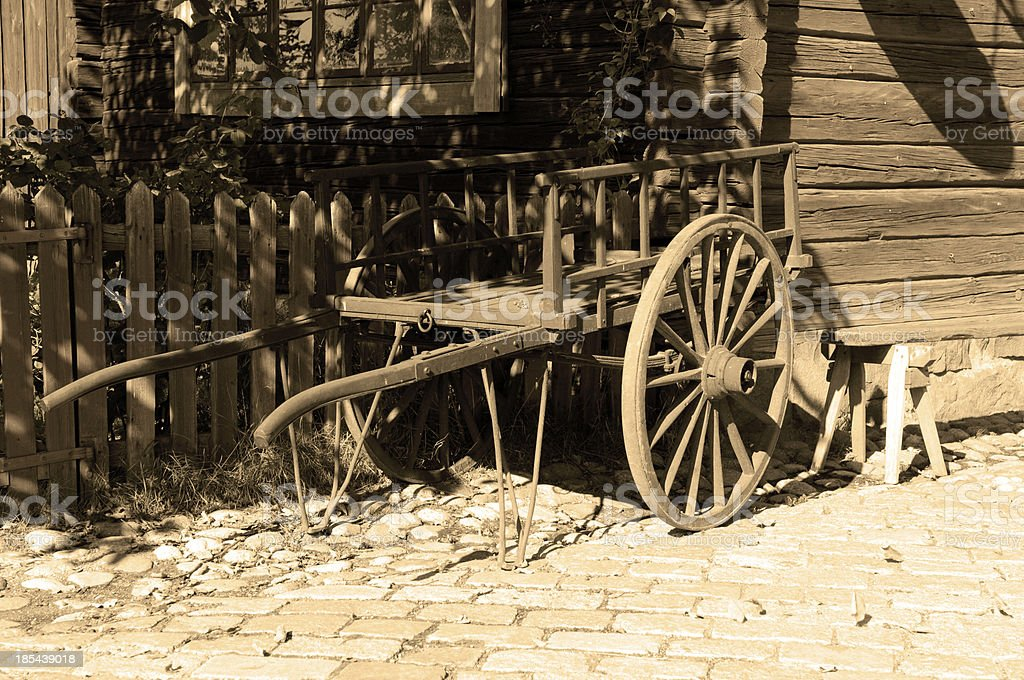 Vintage cart in sepia tone stock photo