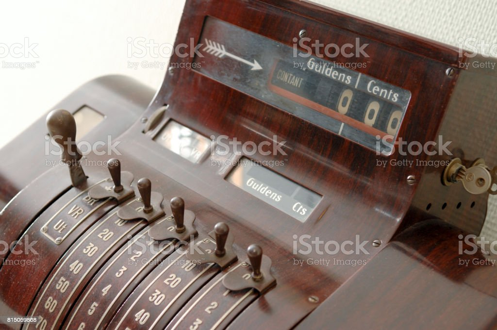 Vintage cash desk stock photo