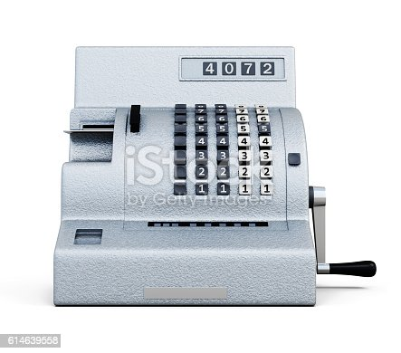 istock Vintage cash register front view isolated on white background. 3 614639558