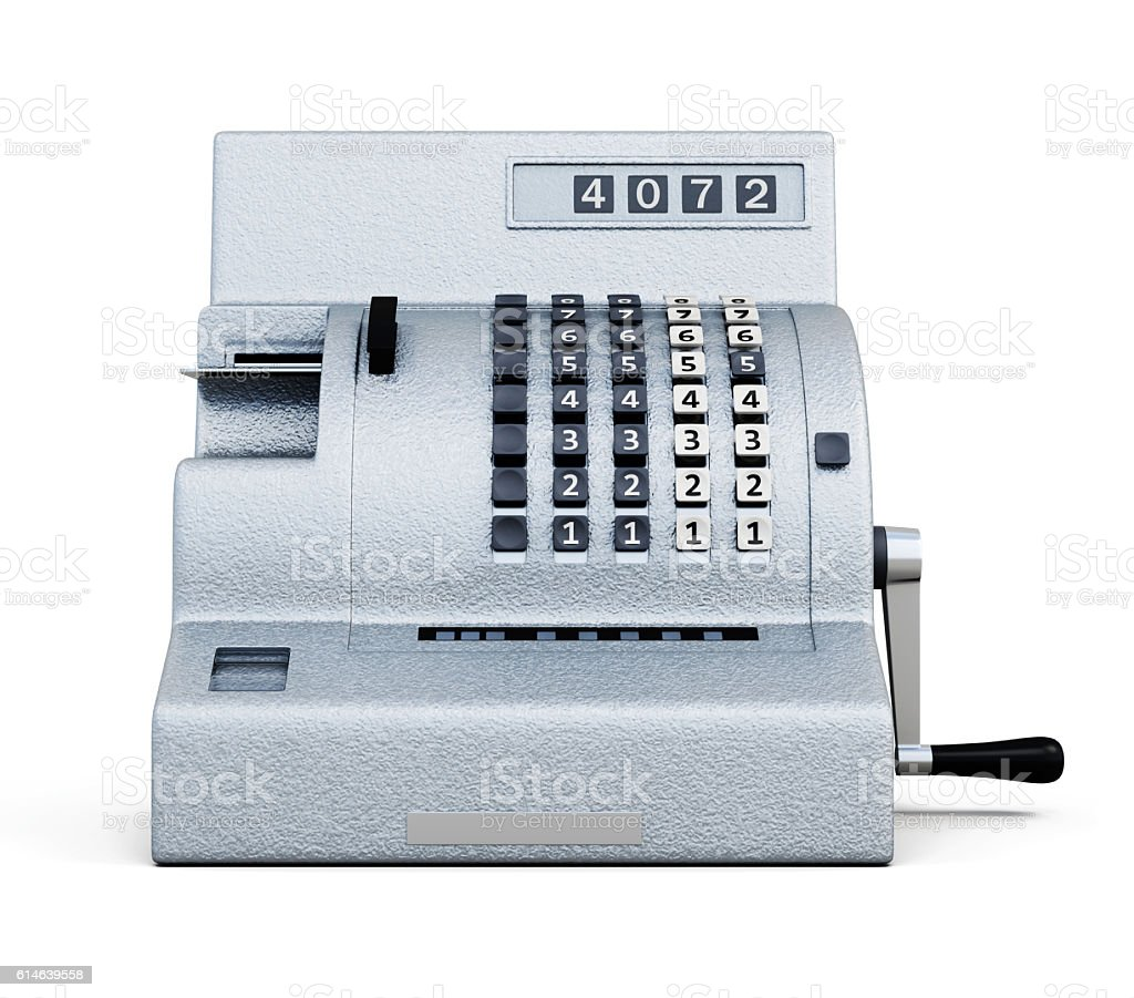 Vintage cash register front view isolated on white background. 3 - foto de acervo
