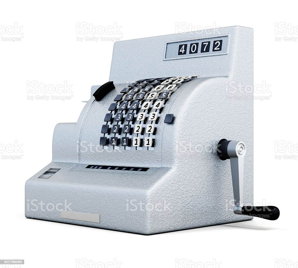 Vintage cash register isolated on white background. 3d rendering - foto de acervo