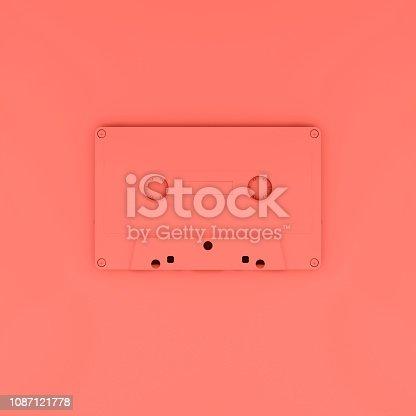 istock Vintage cassette in trend living Coral color 1087121778