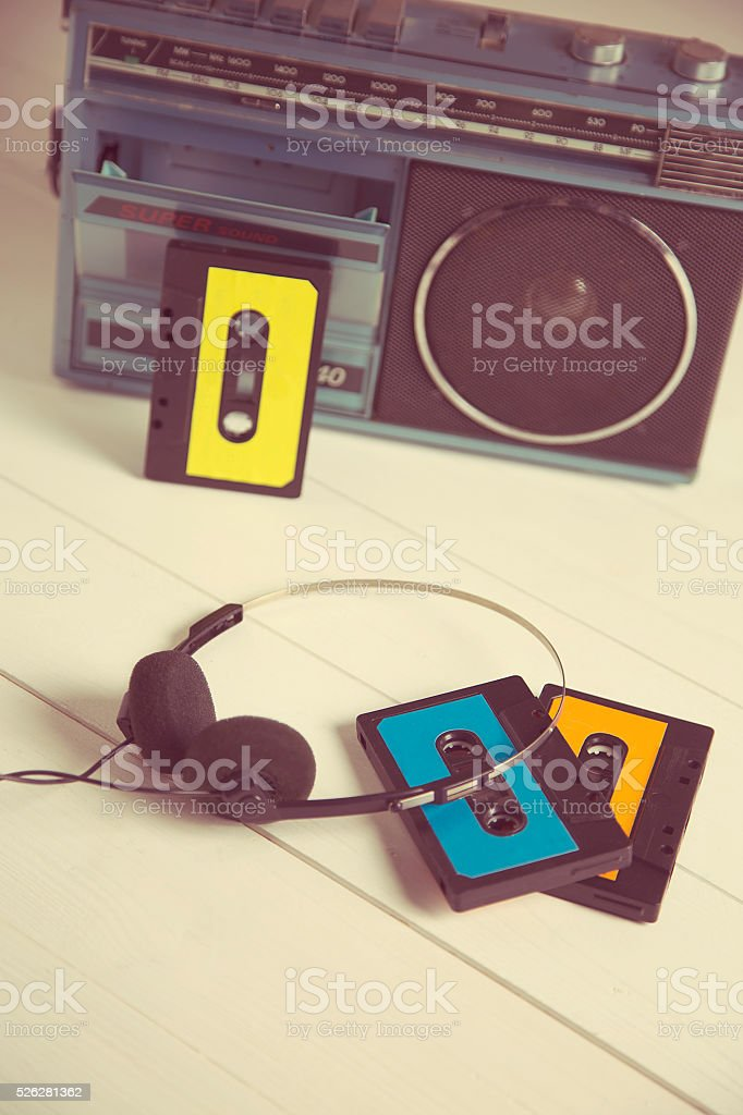 vintage cassette radio 80s stock photo