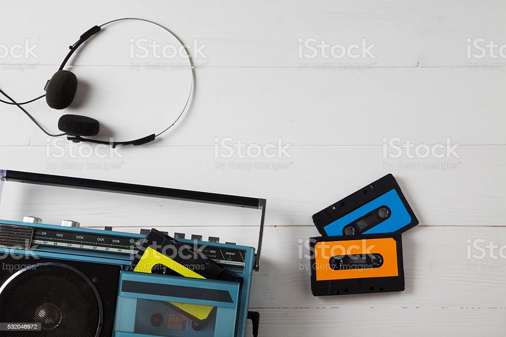 vintage cassette radio 80s stock photo