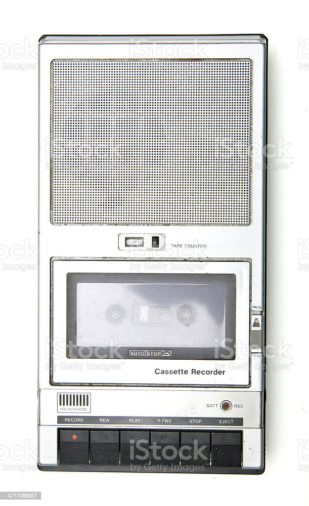 Vintage Cassette Tape Player Isolated on White royalty-free stock photo