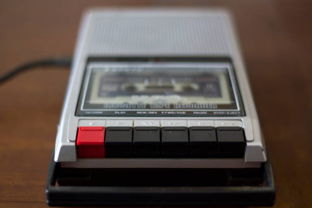 vintage cassette tape player recorder with audio tape cassette inside - recorder stock photos and pictures