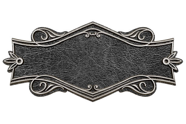 vintage cast leather plate isolated on white background - ovest foto e immagini stock