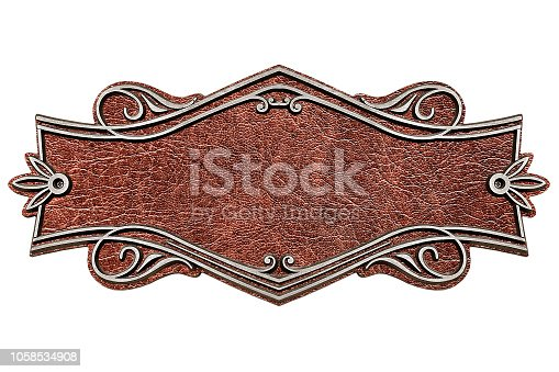 1058533662 istock photo Vintage cast leather plate isolated on white background 1058534908