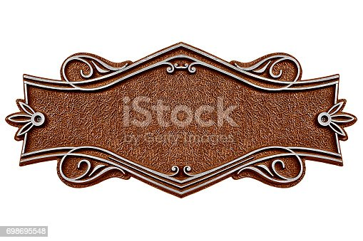 1058533662 istock photo Vintage cast metal plate isolated on white background 698695548