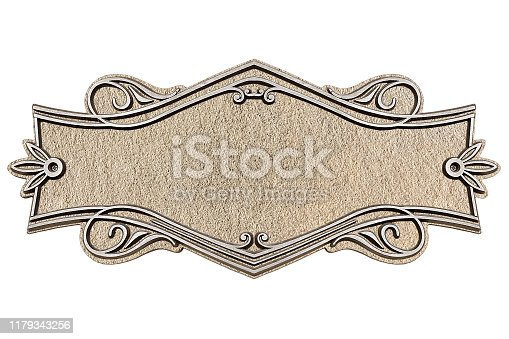 1058533662 istock photo Vintage cast stone plate isolated on white background 1179343256