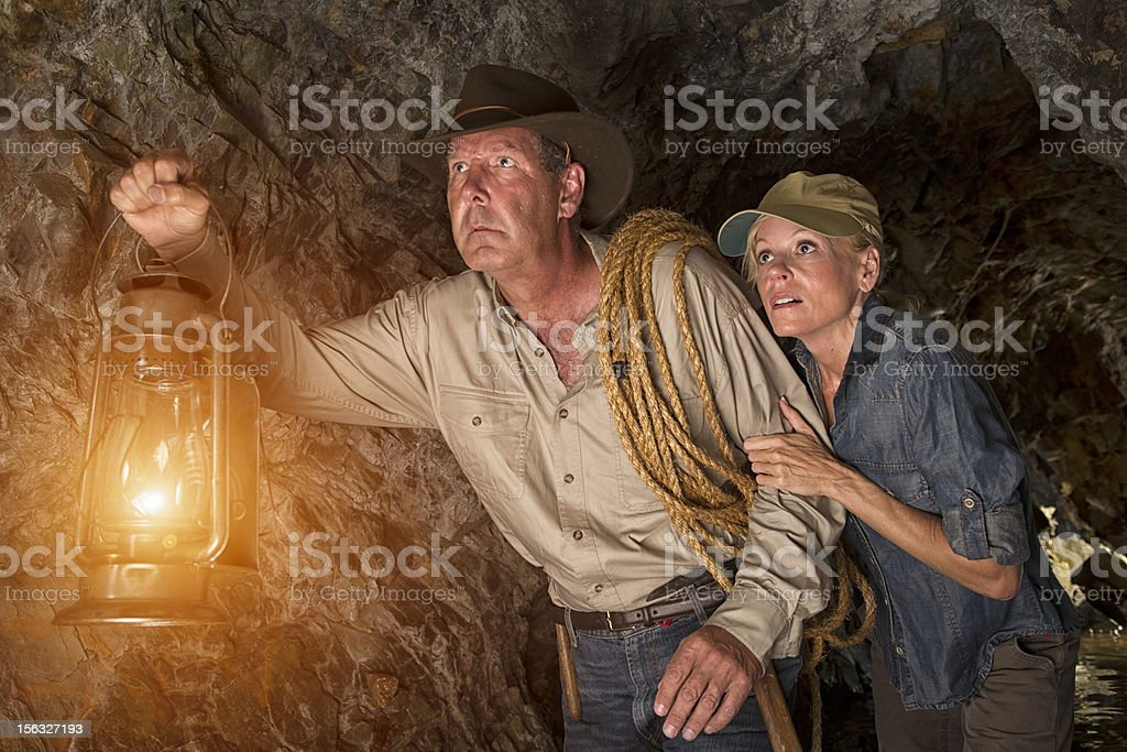 Vintage Cave Explorers into the unknown stock photo