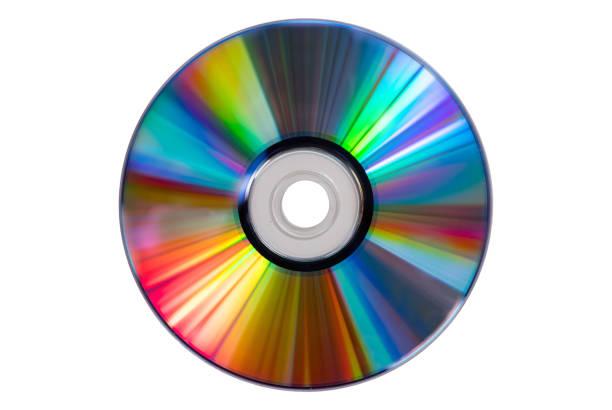 Vintage-CD oder DVD-Platte auf weißem Hintergrund, Clipping-Pfad. Old Circle Discs für Datenspeicherung, Sharing-Filme und Musik – Foto
