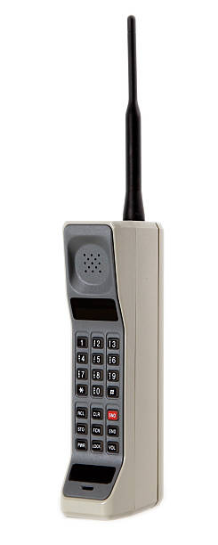 vintage cell phone isolated on white with clipping path stock photo