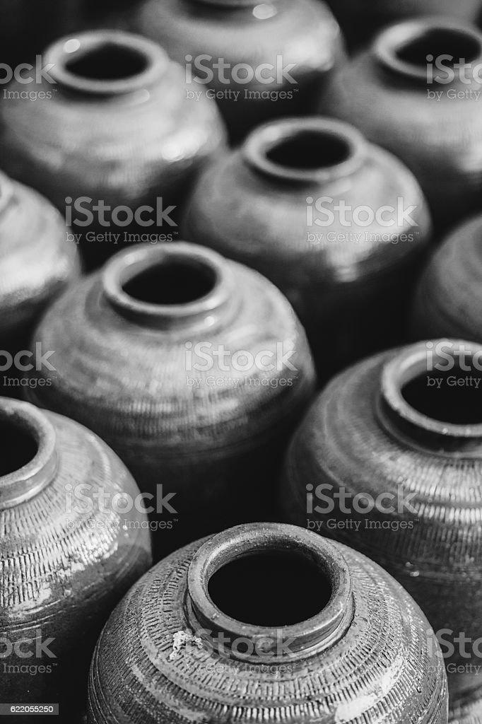 Vintage ceramic clay flower jars. stock photo