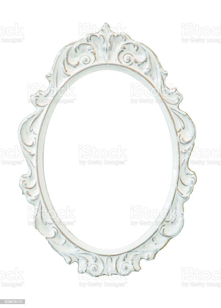 Vintage Ceramic Oval Frame Isolated On White Background Stock Photo