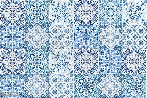 istock Vintage ceramic tiles wall decoration.Turkish ceramic tiles wall background 892108550