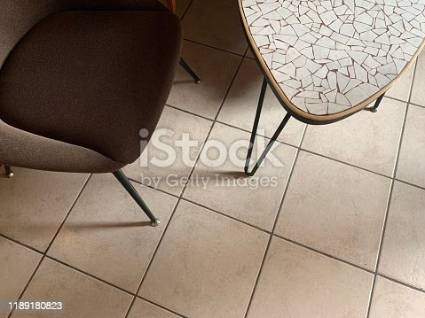 Vintage chair and kidney-shaped table