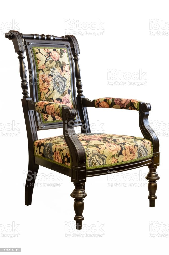 Chaise Vintage isolé sur fond blanc photo libre de droits