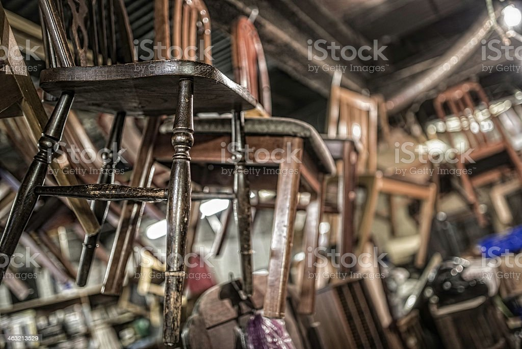 Vintage Chairs inside an Antique Shop stock photo