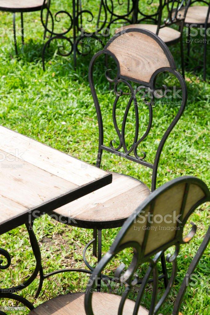 Vintage chairs set  in garden – Foto