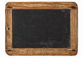 Vintage chalkboard wooden frame white background