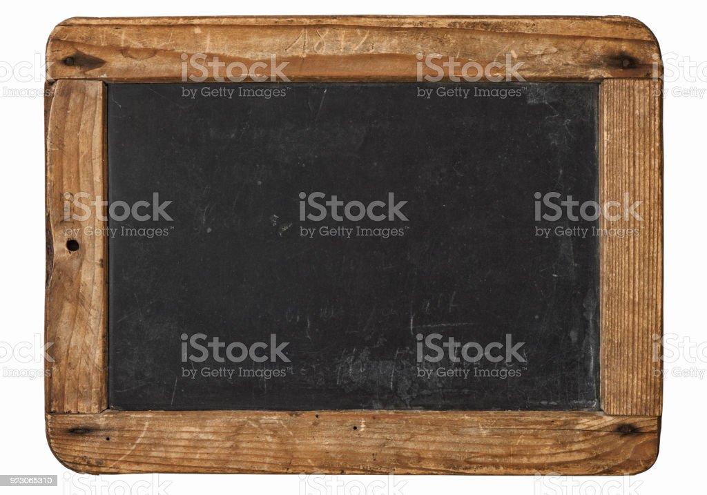 Vintage chalkboard wooden frame white background stock photo