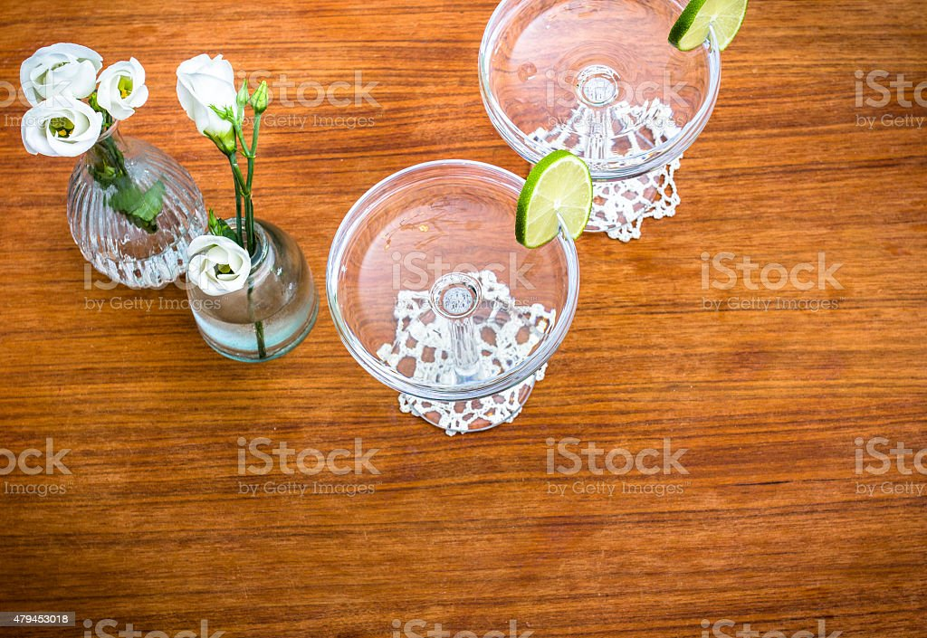 Vintage champagne table stock photo