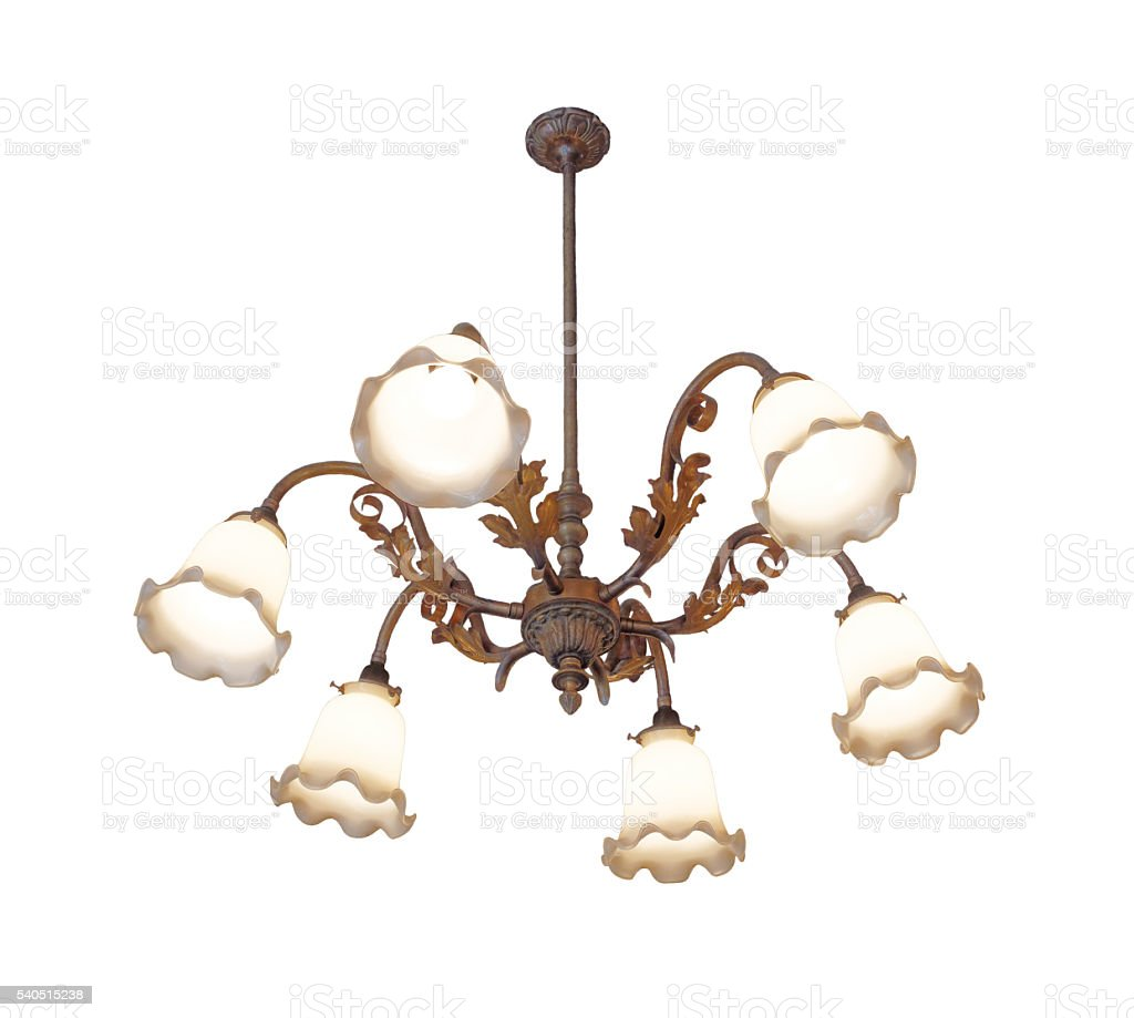 Vintage chandelier isolated on white background with clipping path stock photo