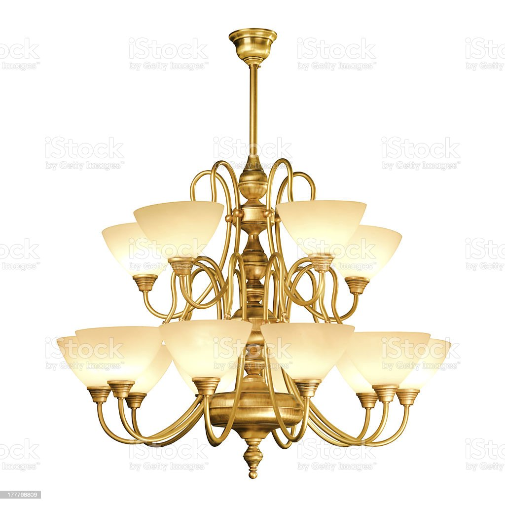 Vintage chandelier isolated on white royalty-free stock photo
