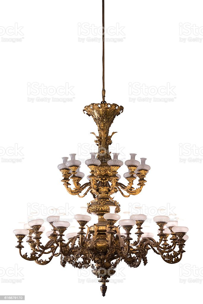 Vintage chandelier on white background stock photo