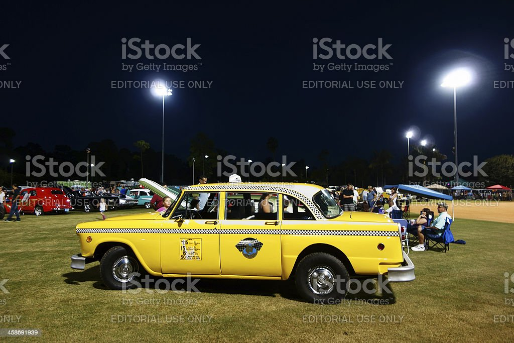 Vintage Checker Taxi Cab royalty-free stock photo